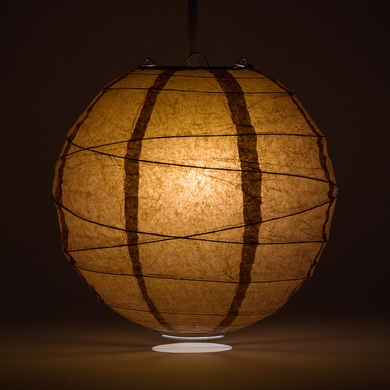 16 Brown Round Paper Lantern Crisscross Ribbing Hanging Decoration