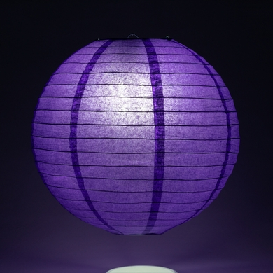 "16"" Plum Purple Round Paper Lantern, Even Ribbing, Hanging Decoration"