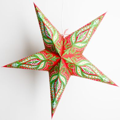 """24"""" Red and Green Dragon Glitter Paper Star Lantern, Hanging Decoration"""