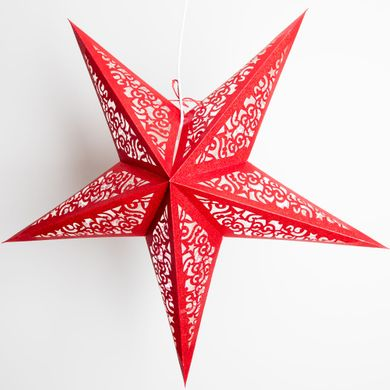 """24"""" Red Glitter Christmas Holiday Paper Star Lantern, Hanging Decoration"""
