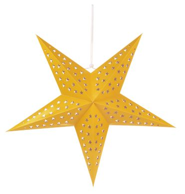 """24"""" Solid Yellow-Orange Cut-Out Paper Star Lantern, Hanging Decoration"""