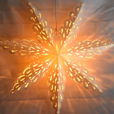 "24"" White Winter Holiday Spirit Snowflake Paper Star Lantern, Hanging Decoration"