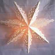 "24"" White Winter North Star Lantern Snowflake Paper Hanging Decoration"