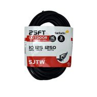 25FT SJTW Extension Cord for Outdoor Commercial String Light, Black 3 Wire Cord, 16AWG, 1250 Watts