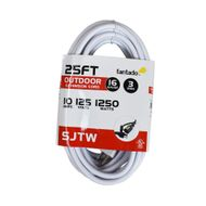 25FT SJTW Extension Cord for Outdoor Commercial String Light, White 3 Wire Cord, 16AWG, 1250 Watts