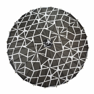 "32"" Black and White Geometric Patterned Premium Paper Parasol Umbrella"