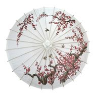 "32"" Cherry Blossom Birds Premium Paper Parasol Umbrella"