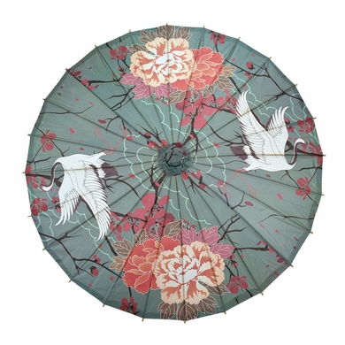 "32"" Crane and Cherry Blossom Premium Paper Parasol Umbrella"