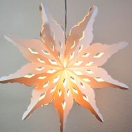 "32"" Large Winter Diamond Snowflake Paper Star Lantern, Hanging Decoration"