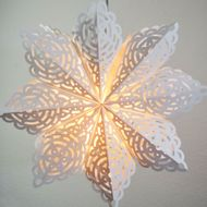 "32"" Large Winter Frost Snowflake Paper Star Lantern, Hanging Decoration"