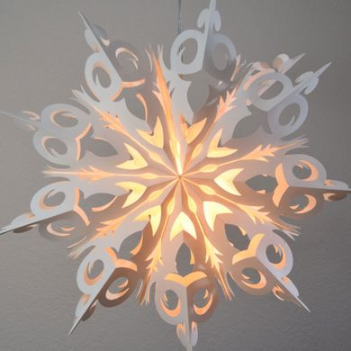"32"" Large Winter Frozen Snowflake Paper Star Lantern, Hanging Decoration"