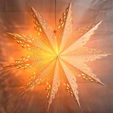 "32"" Large Winter Ice Crystal Snowflake Paper Star Lantern, Hanging Decoration"