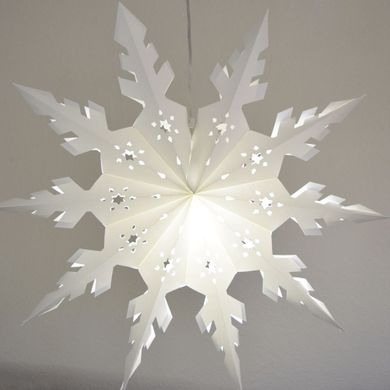 "32"" Large Winter Peppermint Snowflake Paper Star Lantern, Hanging Decoration"