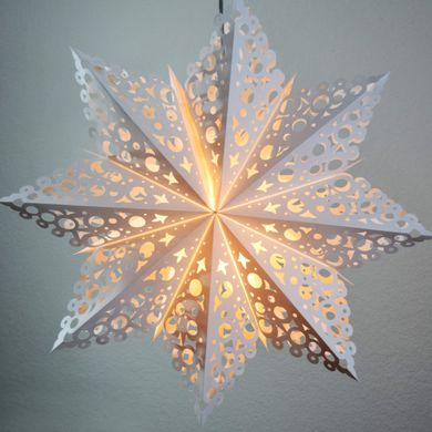 "32"" Large Winter Solstice Snowflake Paper Star Lantern, Hanging Decoration"