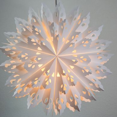 "32"" Large Winter Wreath Snowflake Paper Star Lantern, Hanging Decoration"