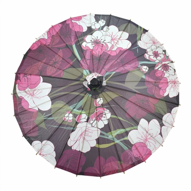 "32"" Midnight Summer Cherry Blossom Premium Paper Parasol Umbrella"