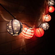 "4"" 4th of July Red, White and Blue Round Paper Lanterns, Even Ribbing, Hanging (10 PACK) Decoration"