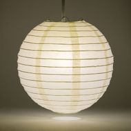 "6"" Beige / Ivory Round Paper Lantern, Even Ribbing, Hanging Decoration"