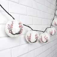 "4"" Cherry Blossom Round Paper Lanterns, Even Ribbing, Hanging (10 PACK) Decoration"