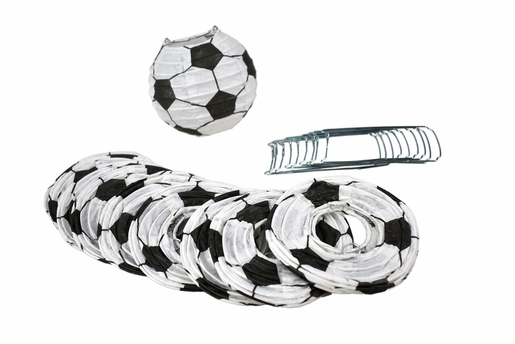 "4"" Soccer Ball / Futbol Shaped Sport Paper Lanterns, Even Ribbing, Hanging (10-PACK) Decoration"