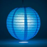 Turquoise Round Even Ribbing Paper Lanterns