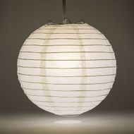 "14"" White Round Paper Lantern, Even Ribbing, Hanging Decoration"