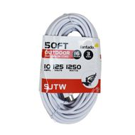 50FT SJTW Extension Cord for Outdoor Commercial String Light, White 3 Wire Cord, 16AWG, 1250 Watts