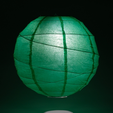 "8"" Arcadia Teal Green Round Paper Lantern, Crisscross Ribbing, Hanging Decoration"
