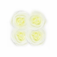 8-Inch Ivory Tea Rose Foam Flower Backdrop Wall Decor, 3D Premade (4-PACK)