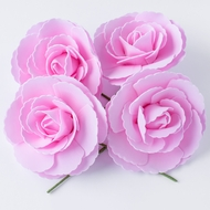 8-Inch Pink Tea Rose Foam Flower Backdrop Wall Decor, 3D Premade (4-PACK)