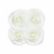 8-Inch White Tea Rose Foam Flower Backdrop Wall Decor, 3D Premade (4-PACK)