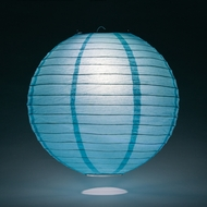 Baby Blue Round Even Ribbing Paper Lanterns