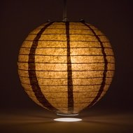 "14"" Brown Round Paper Lantern, Even Ribbing, Hanging Decoration"