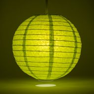 Chartreuse Round Even Ribbing Paper Lanterns