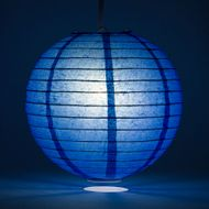 Dark Blue Round Even Ribbing Paper Lanterns