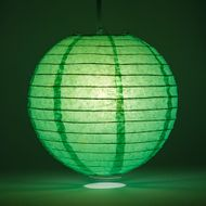 "12"" Emerald Green Round Paper Lantern, Even Ribbing, Hanging Decoration"