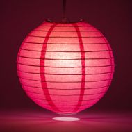 "12"" Fuchsia / Hot Pink Round Paper Lantern, Even Ribbing, Hanging Decoration"