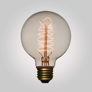 25-Watt Incandescent G95 Globe Vintage Edison Light Bulb, Spiral Filament, E26 Base