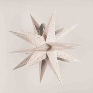 "24"" White Moravian Cut-Out Multi-Point Paper Star Lantern Lamp, Hanging Decoration"
