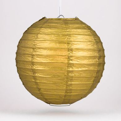 "16"" Gold Round Paper Lantern, Even Ribbing, Hanging Decoration"