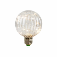 LED Fairy PG80 Ribbed Edison Shatterproof Light Bulb, E26, 3W(25W Equivalent)