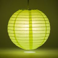 "12"" Light Lime Green Round Paper Lantern, Even Ribbing, Hanging Decoration"