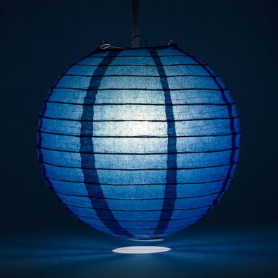 "6"" Navy Blue Round Paper Lantern, Even Ribbing, Hanging Decoration"