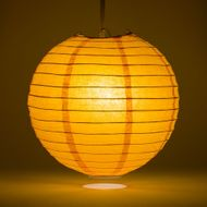 "12"" Orange Round Paper Lantern, Even Ribbing, Hanging Decoration"