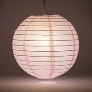 "8"" Pink Round Paper Lantern, Even Ribbing, Hanging Decoration"
