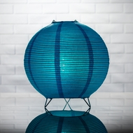 Turquoise Round Centerpiece Candle Lantern w/ Fine Lines
