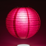 Velvet Rose Red Round Even Ribbing Paper Lanterns