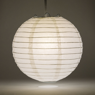 "12"" White Round Paper Lantern, Even Ribbing, Hanging Decoration"