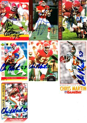 10 Kansas City Chiefs autographed 1990s cards (Greg Hill Chris Martin Barry Word)