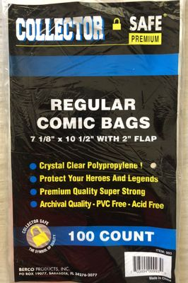 100 Collector Safe premium regular acid free comic book bags